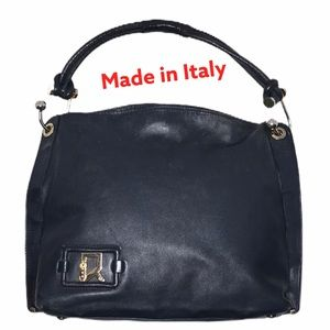 Navy Blue Italian Leather Shoulder Bag VGUC